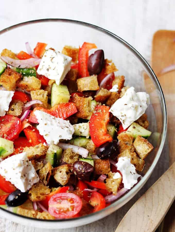 Greek Panzanella Salad with Garlic Lemon Vinaigrette