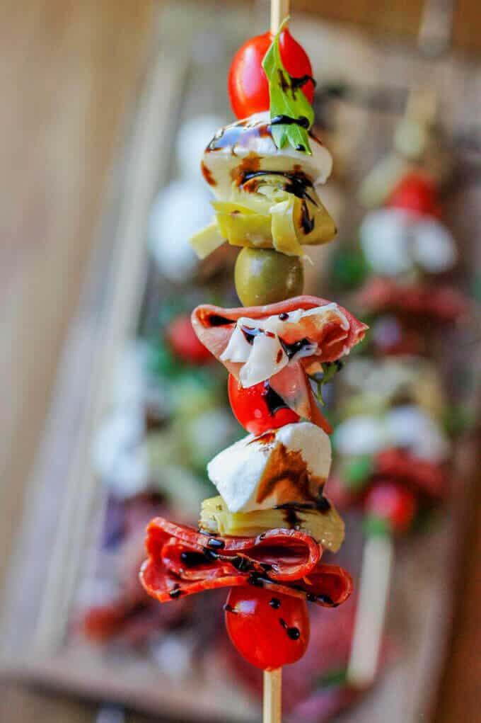 Antipasto Skewers with traditional Italian ingredients