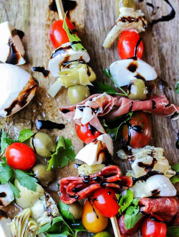 Italian Antipasto Skewers with Balsamic Reduction