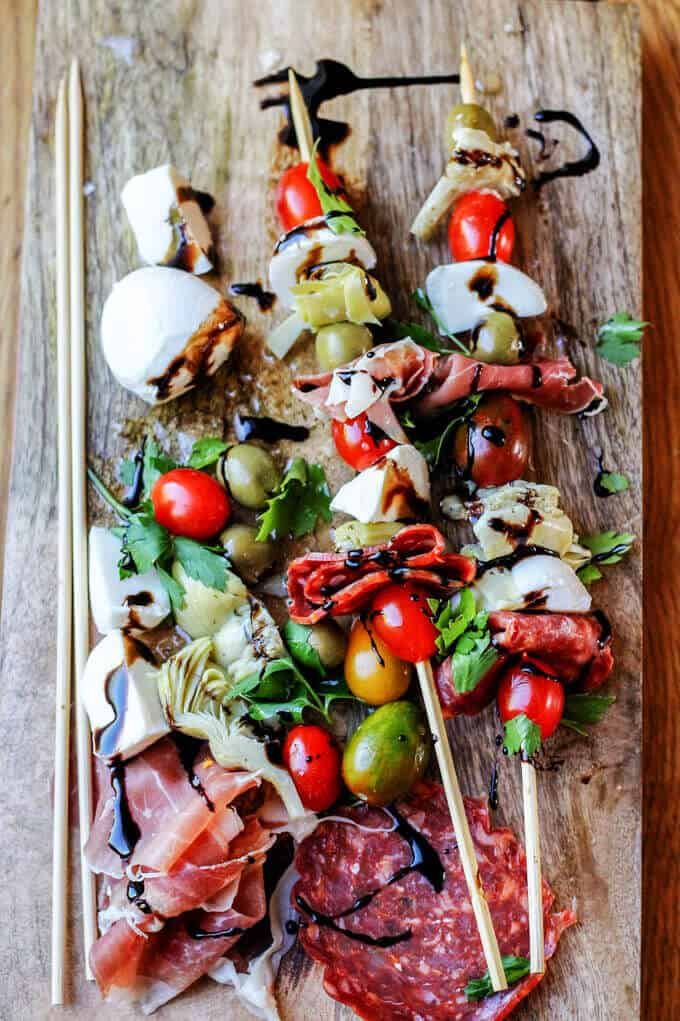 Italian Antipasto Skewers on a serving board