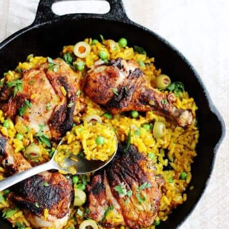 One Pot Chicken Saffron Rice with Peas and Olives