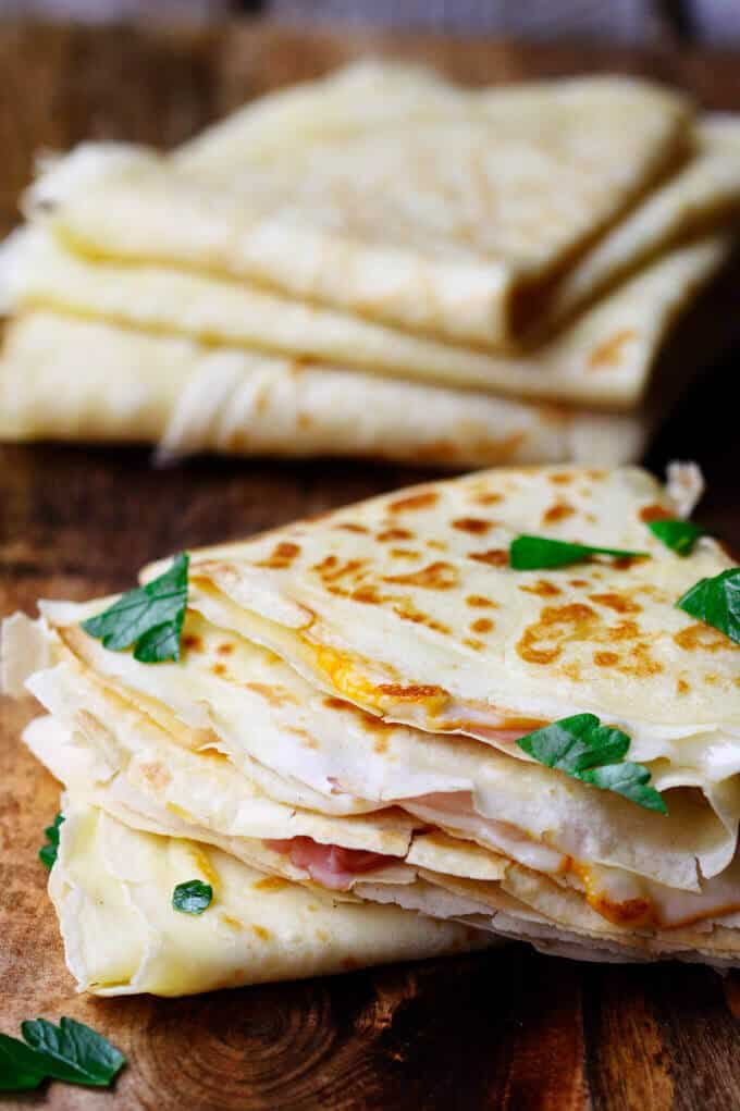 French Crepes with cheese and ham