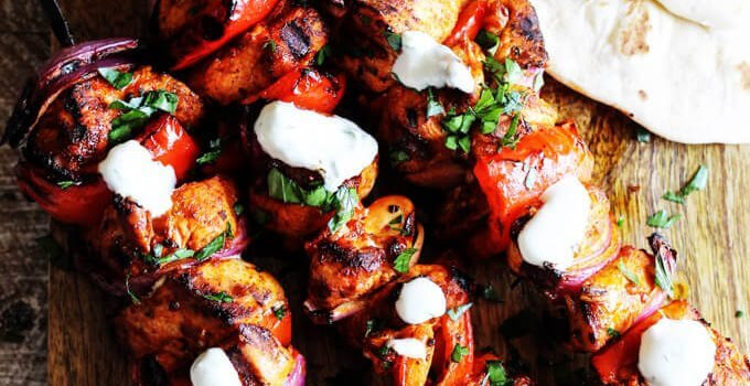 Mediterranean Chicken Kebabs with Garlic Yogurt Sauce