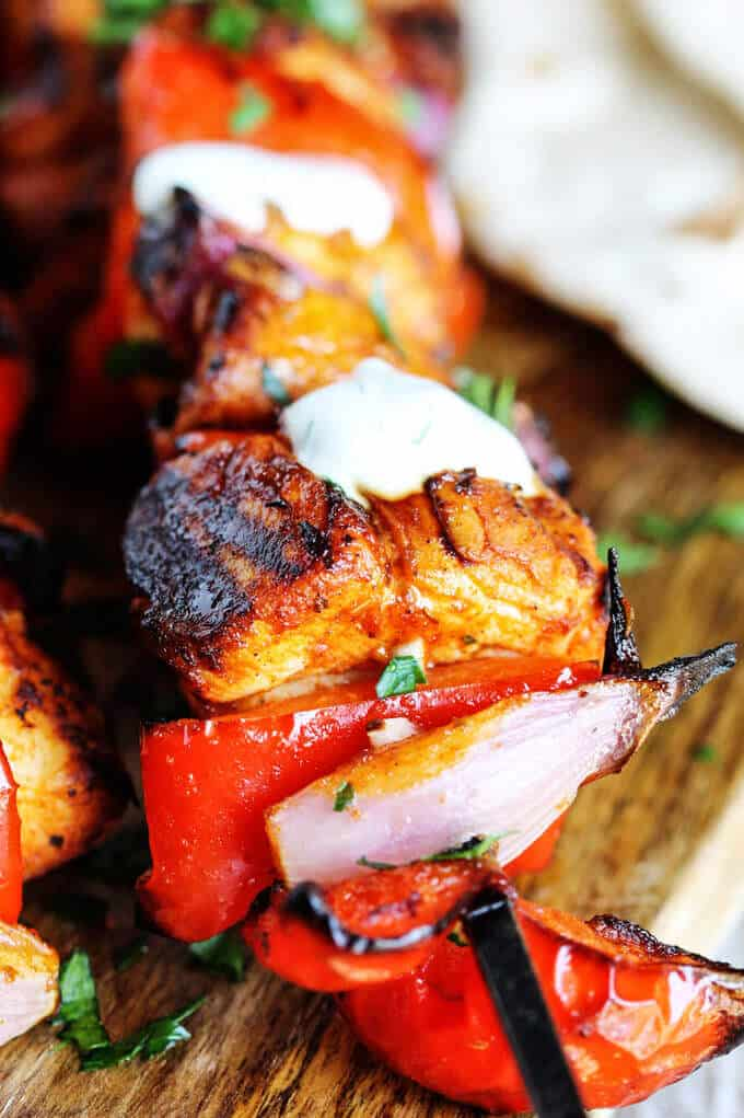 Mediterranean Chicken Kebabs with Garlic Yogurt sauce are packed with ...