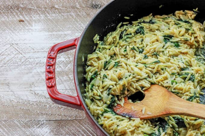 Parmesan Spinach Orzo can serve as a super quick and flavorful side dish, or a vegetarian entree. It contains only 4 ingredients and it's ready in 15 minutes.