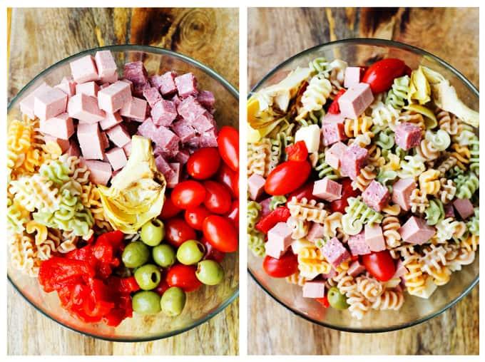 Mixing antipasto pasta salad