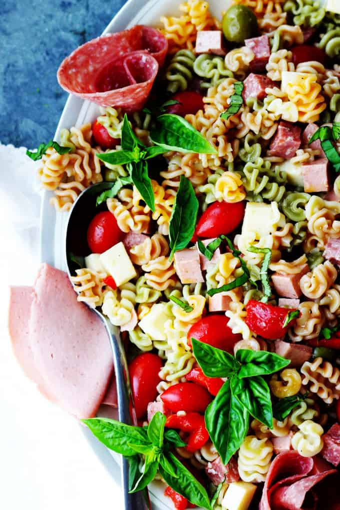 Antipasto Pasta Salad on a white platter