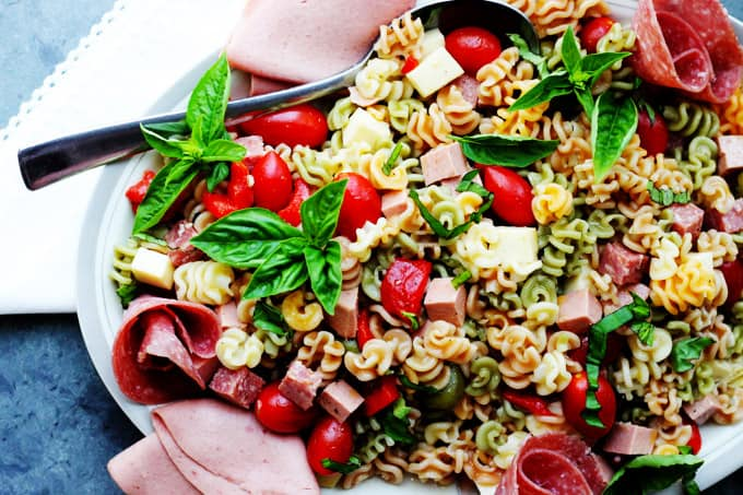 Horizontal photo of antipasto pasta salad