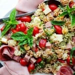 Antipasto Pasta Salad with Salami and Bologna is a super easy, delicious and affordable lunch idea for a busy family on a budget. #EckrichFlavor #AskForEckrich #CollectiveBias #shop #ad