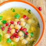 Chickpea ('Revithosoupa') is a traditional Greek vegan soup that uses simple ingredients. This version uses canned chickpeas and is ready in 20 minutes.