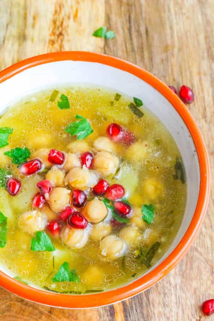 Greek Chickpea Soup ('Revithosoupa') is a traditional Greek vegan soup that uses simple ingredients. This version uses canned chickpeas and is ready in 20 minutes.