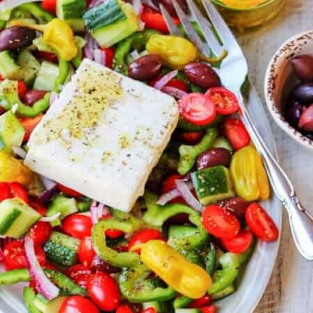 Horiatiki Salad with Golden Greek Peperoncini + Sweepstake