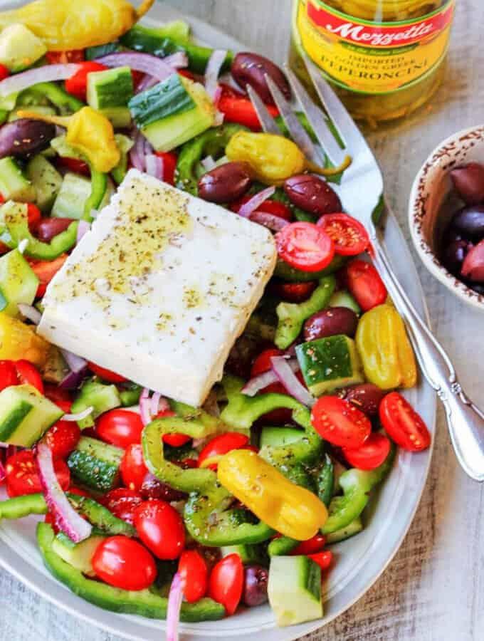 Horiatiki Salad (Greek Salad) with Golden Greek Peperoncini