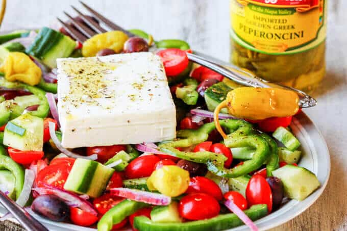 Horiatiki salad with mozzetta pepperoncini