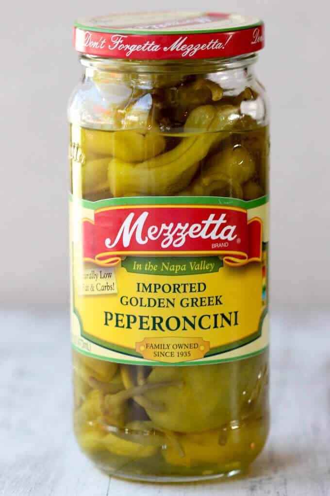 Jar of Mezetta Golden Green Pepperoncini