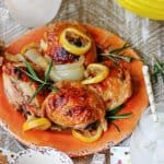 Baked Honey Lemon Chicken with Garlic and Rosemary is a fantastic dish for a date night in. It tastes super delicious, but requires minimal preparation. A win-win situation.#NationalHoneyMonth#SavorGoldenMoments #Ad