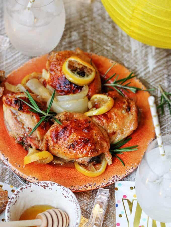 Baked Honey Lemon Chicken with Garlic & Rosemary