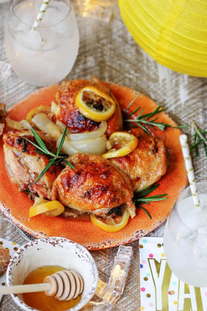 Baked Honey Lemon Chicken with Garlic and Rosemary is a fantastic dish for a date night in. It tastes super delicious, but requires minimal preparation. A win-win situation. #NationalHoneyMonth #SavorGoldenMoments #Ad