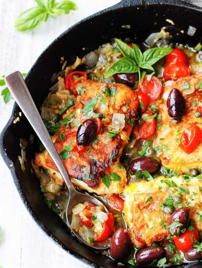 Pan Fried Haddock Mediterranean Style with white wine, cherry tomatoes, kalamata olives and tangy capers is very easy but very flavorful dish that can be ready in 20 minutes