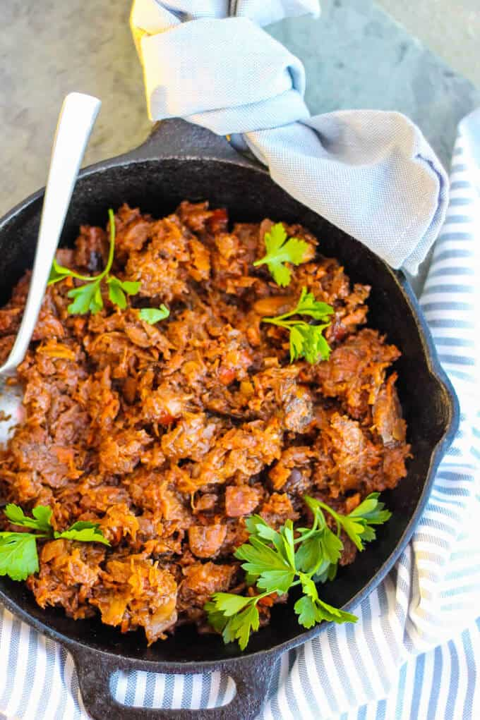 Bigos stew in a skillet