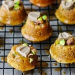 Blond Chocolate-Dipped Pistachio Financier is an amazing desert using out of this world, super unique Blond Chocolate and French silky butter. Pistachios and almond adds an extra layer of flavor to these amazing light French cakes. Made in France, made with Love.