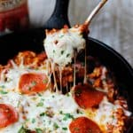 Skillet Pepperoni Pizza Sloppy Joes are a very easy dish with ground turkey, Bertolli Rustic Cut Marinara Sauce, peperoni and mozzarella cheese. It can be served on a bun or over pasta or polenta #Ad #ReachforRustic