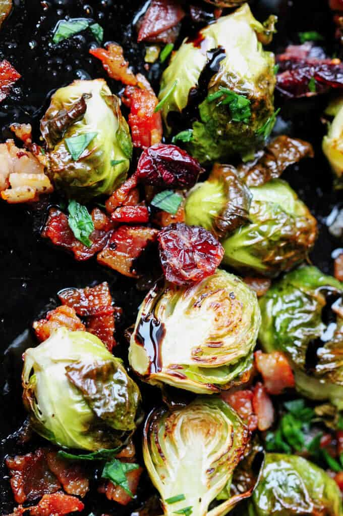 Balsamic Glazed Brussels Sprouts with Bacon and cranberries