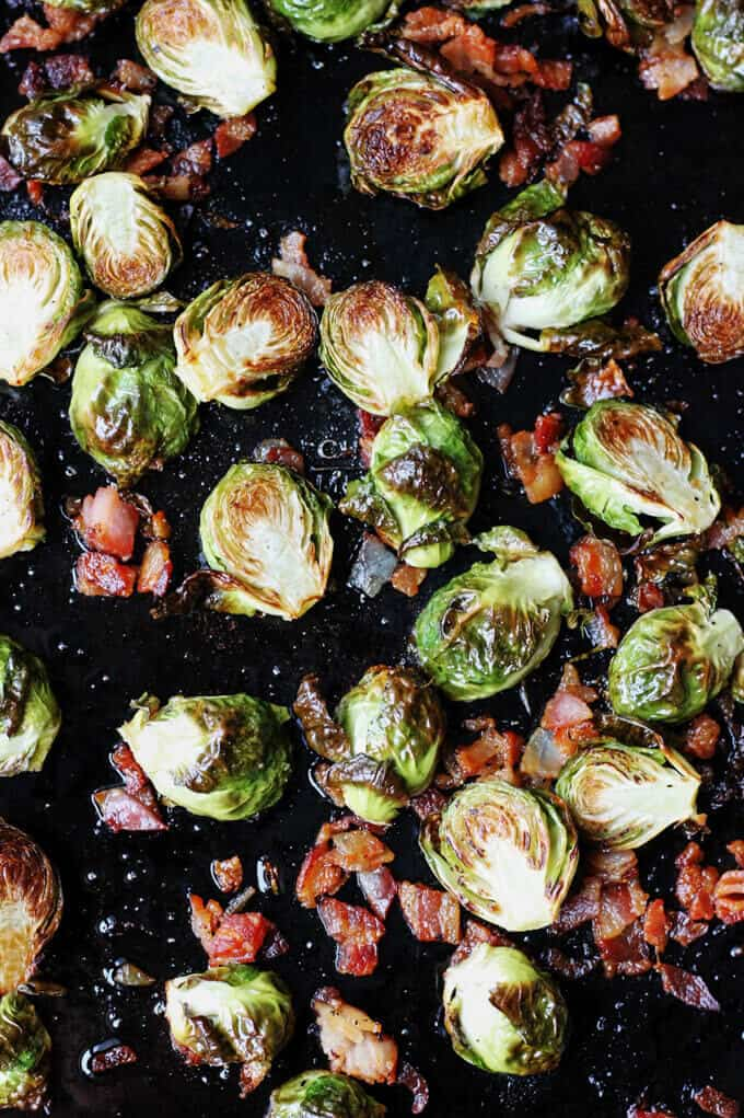 Roasting Brussels Sprouts with Bacon on a sheet pan