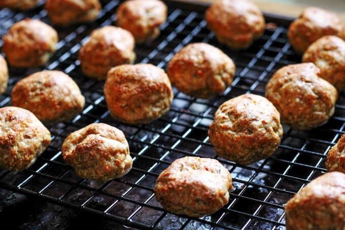 Turkey Meatballs on sheet rack