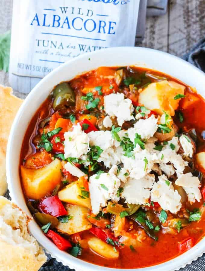 Spanish Style Tuna Stew with Potatoes, Peppers and Tomatoes