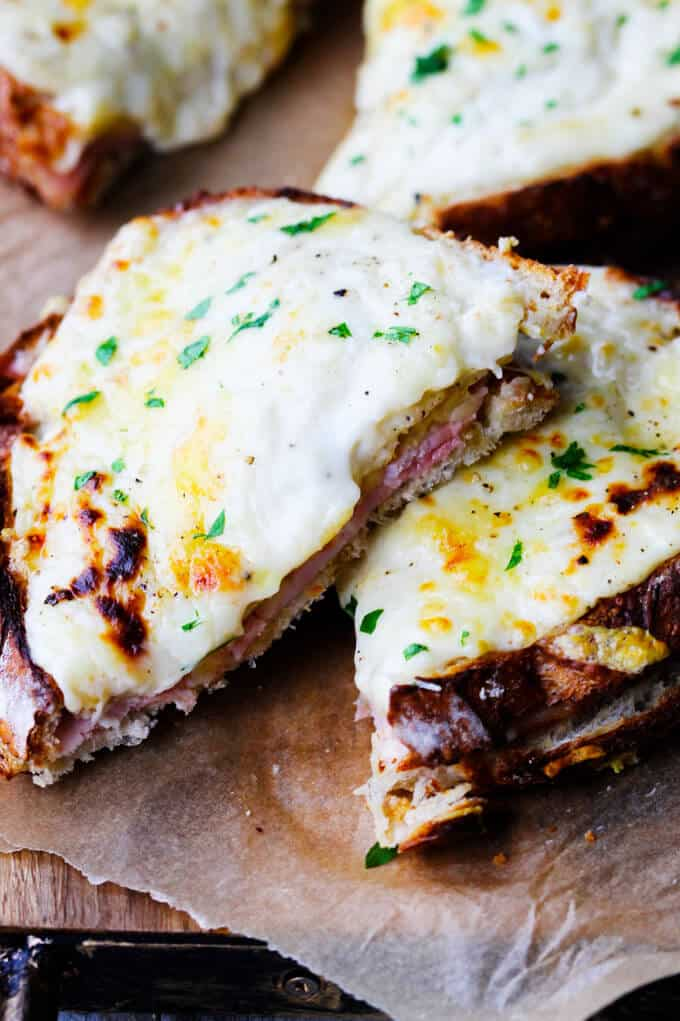 Classic Croque Monsieur sandwich cut up and stock up together