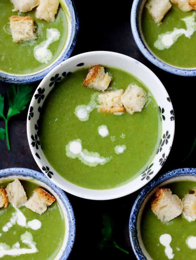 Creamy Spinach Soup with Parmesan Croutons