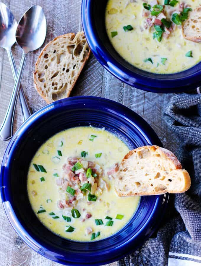 Ham and Cheese Soup with White Wine & Gruyere