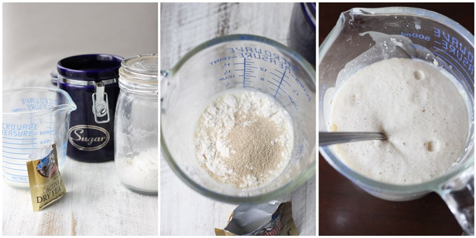 3 shots showing how to make yeast to grow