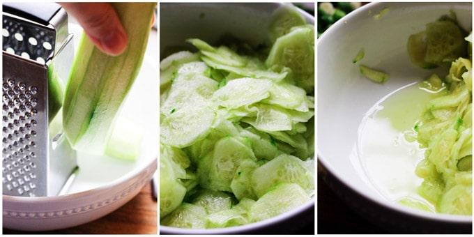 Preparation of Polish cucumber salad - 3 shots, slicing cucumber, cucumber in a bowl, cucumber with water