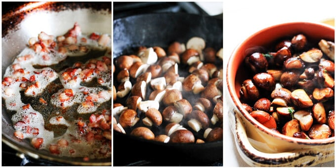 steps to prepare bacon and mushrooms