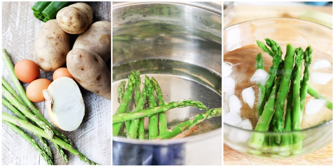 Potato cutlets process shots, blenching asparagus