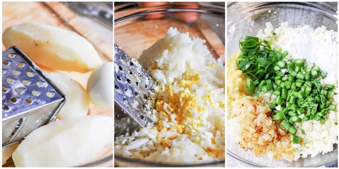 Potato cutlets process shots, shredding potatoes and eggs