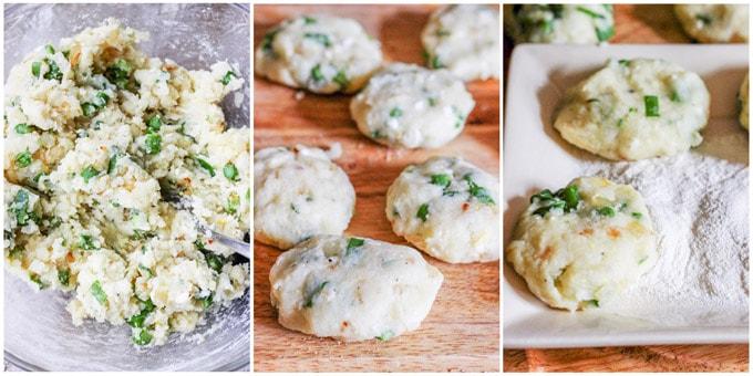 Potato cutlets process shots, forming the cutlets