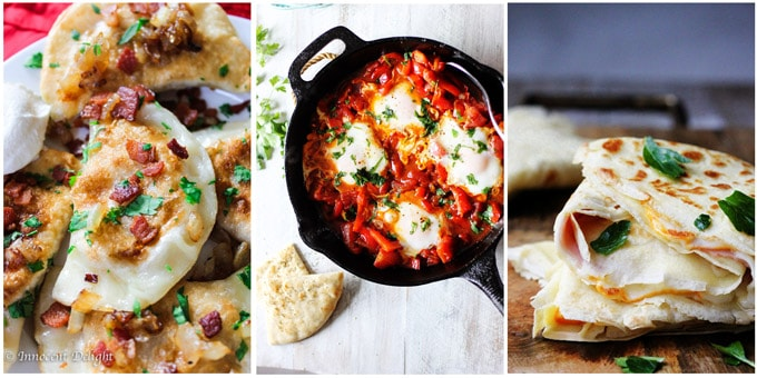Photo collage: pierogi, shakshouka, crepes with ham and cheese