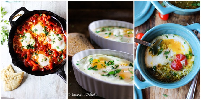 Collage of 3 Mediterranean breakfast recipes