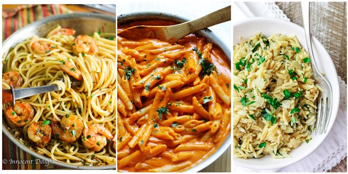 Collage of 3 best Mediterranean recipes for pastas