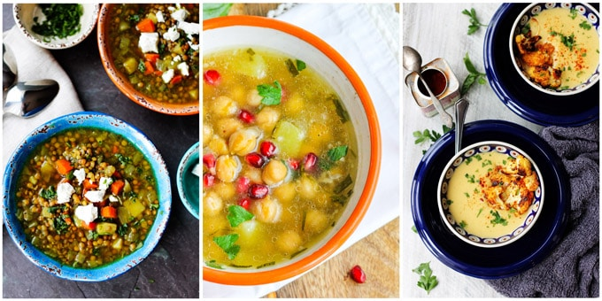 Collage of 3 Best Mediterranean Soup recipes