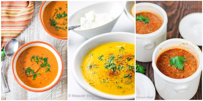 Collage of 3 shots of Mediterranean soups