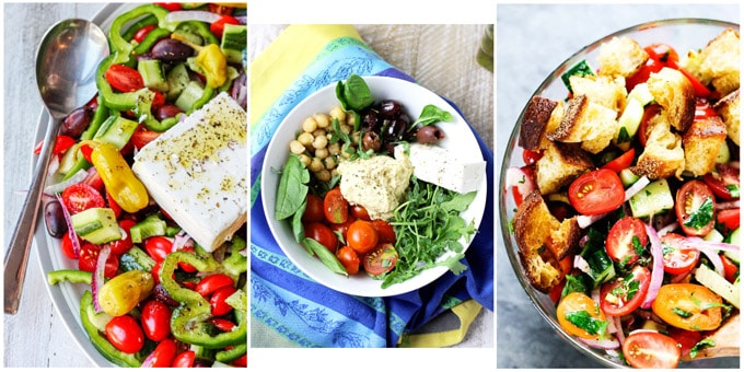 Collage of the best Mediterranean salad recipes