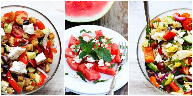 Collage of 3 best Mediterranean recipes for salads