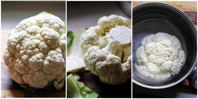 3 images of preparing cauliflower to roast