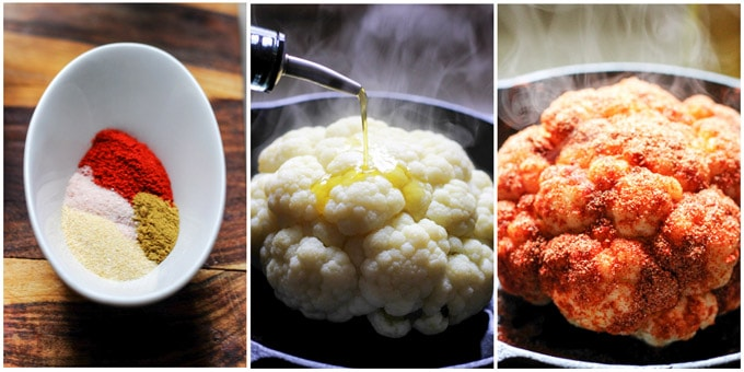 3 images on how to make roasted cauliflower (process shots)