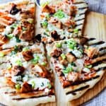 Cut up grilled chicken buffalo pizza