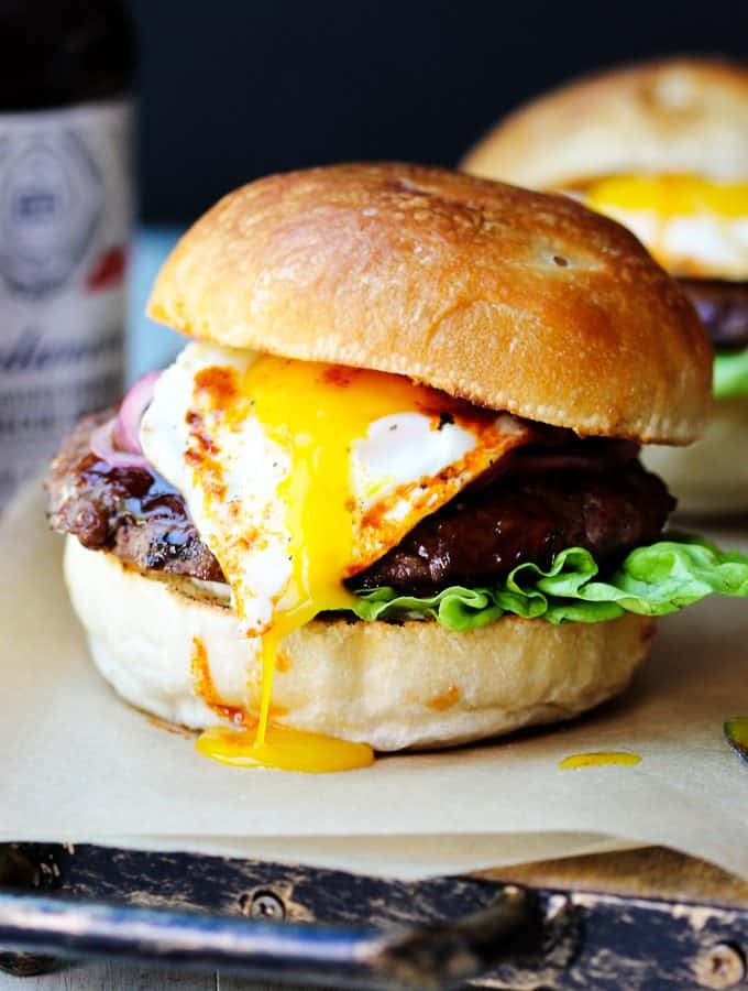 Smoky BBQ Burger with runny egg yolk